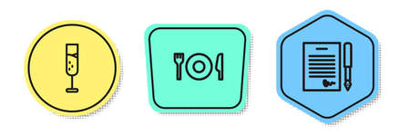 Set line Glass of champagne, Plate, fork and knife and Marriage contract. Colored shapes. Vector