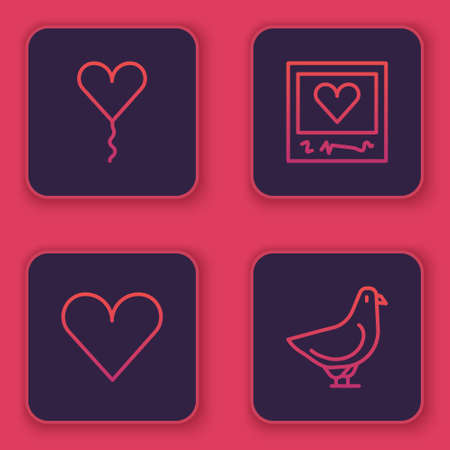 Set line Balloon in form of heart, Heart, Photo frames and hearts and Dove. Blue square button. Vector