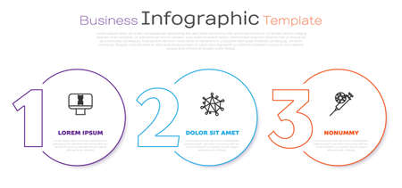 Set line DNA spiral and computer, Virus and Syringe virus. Business infographic template. Vector