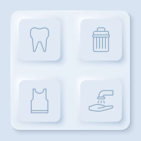Set line Tooth, Trash can, Sleeveless T-shirt and Washing hands with soap. White square button. Vector