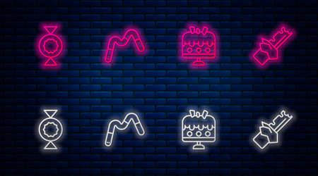 Set line Jelly worms candy, Cake on plate, Candy and Bitten chocolate bar. Glowing neon icon on brick wall. Vector