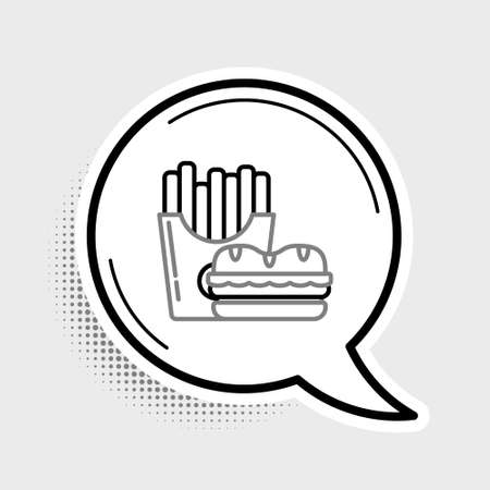 Line Burger and french fries in carton package box icon isolated on grey background. Hamburger, cheeseburger sandwich. Fast food menu. Colorful outline concept. Vector