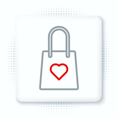 Line Shopping bag with heart icon isolated on white background. Shopping bag shop love like heart icon. Valentines day symbol. Colorful outline concept. Vector