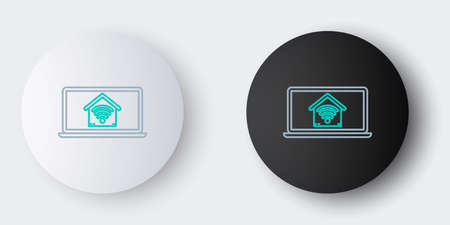 Line Laptop with smart home with wifi icon isolated on grey background. Remote control. Colorful outline concept. Vector