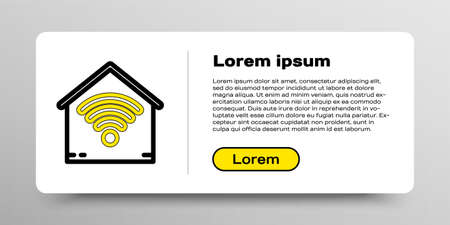 Line Smart home with wifi icon isolated on white background. Remote control. Colorful outline concept. Vector