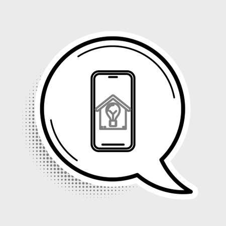 Line Mobile phone with smart house and light bulb icon isolated on grey background. Colorful outline concept. Vector