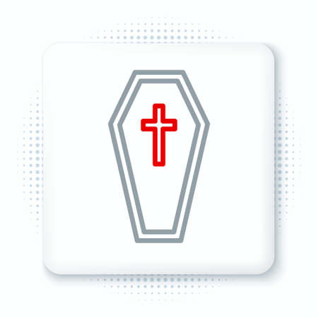 Line Coffin with christian cross icon isolated on white background. Happy Halloween party. Colorful outline concept. Vector