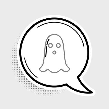 Line Ghost icon isolated on grey background. Happy Halloween party. Colorful outline concept. Vector Ilustração