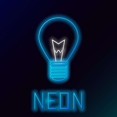 Glowing neon line Light bulb with concept of idea icon isolated on black background. Energy and idea symbol. Inspiration concept. Colorful outline concept. Vector