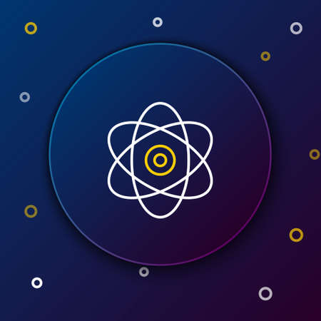 Line Atom icon isolated on blue background. Symbol of science, education, nuclear physics, scientific research. Electrons and protons sign. Colorful outline concept. Vector Illustration