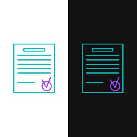 Line Confirmed document and check mark icon isolated on white and black background. Checklist icon. Business concept. Colorful outline concept. Vector