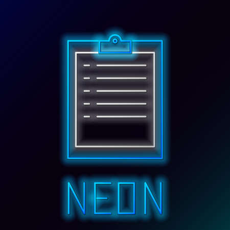 Glowing neon line Clipboard with checklist icon isolated on black background. Colorful outline concept. Vector Ilustrace