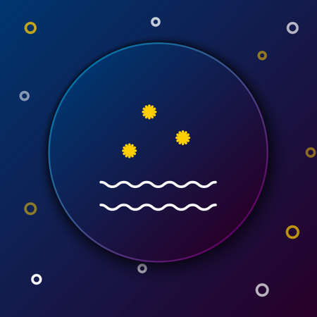 Line Cold and waves icon isolated on blue background. Colorful outline concept. Vector 일러스트