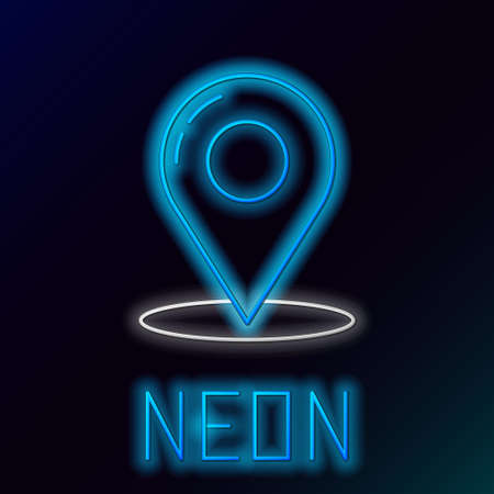 Glowing neon line Map pin icon isolated on black background. Navigation, pointer, location, map, gps, direction, place, compass, contact, search concept. Colorful outline concept. Vector illustration