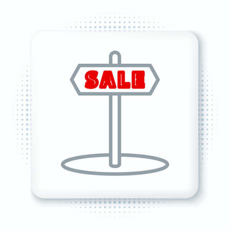 Line Hanging sign with text Sale icon isolated on white background. Signboard with text Sale. Colorful outline concept. Vector Ilustração