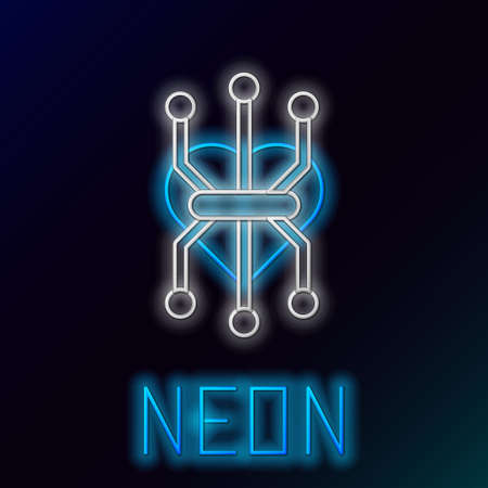 Glowing neon line Processor icon isolated on black background. CPU, central processing unit, microchip, microcircuit, computer processor, chip. Colorful outline concept. Vector Ilustrace