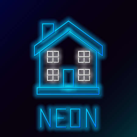Glowing neon line House icon isolated on black background. Home symbol. Colorful outline concept. Vector Ilustrace