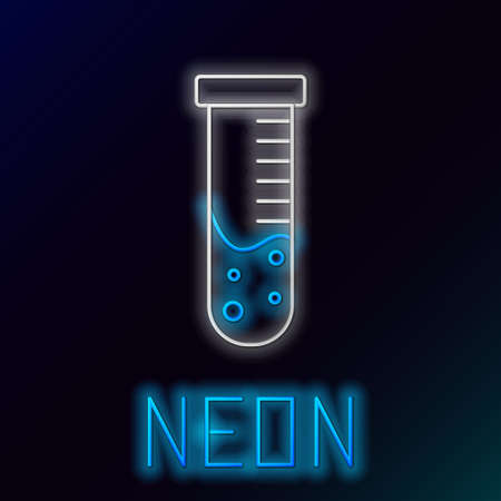 Glowing neon line Test tube and flask chemical laboratory test icon isolated on black background. Laboratory glassware sign. Colorful outline concept. Vector