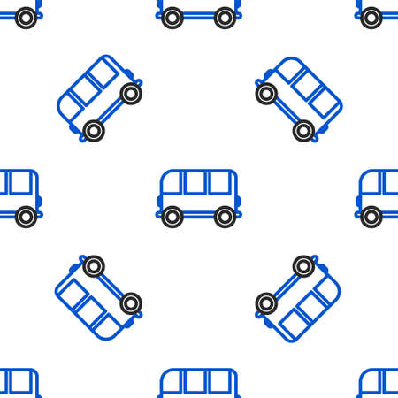 Line School Bus icon isolated seamless pattern on white background. Colorful outline concept. Vector