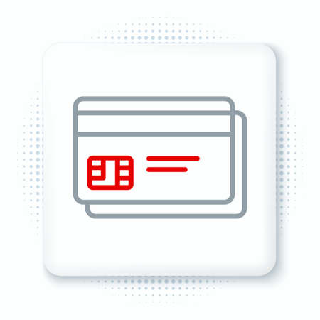 Line Credit card icon isolated on white background. Online payment. Cash withdrawal. Financial operations. Shopping sign. Colorful outline concept. Vector Ilustração