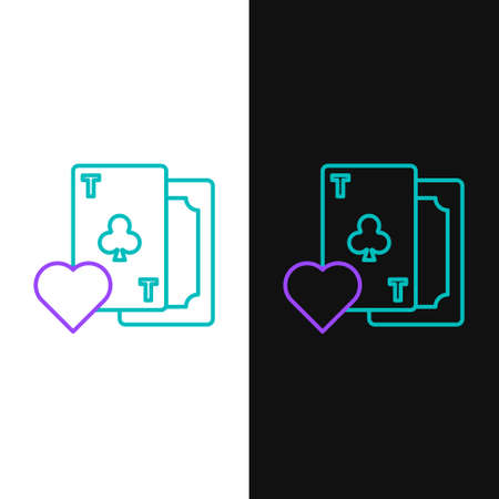 Line Playing card with clubs symbol icon isolated on white and black background. Casino gambling. Colorful outline concept. Vector 일러스트