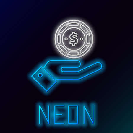 Glowing neon line Hand holding casino chips icon isolated on black background. Casino gambling. Colorful outline concept. Vector