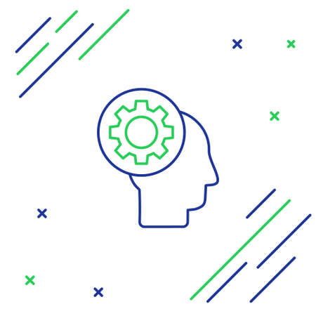 Line Human head with gear inside icon isolated on white background. Artificial intelligence. Thinking brain sign. Symbol work of brain. Colorful outline concept. Vector 일러스트