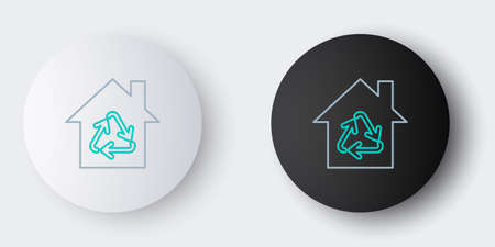 Line Eco House with recycling symbol icon isolated on grey background. Ecology home with recycle arrows. Colorful outline concept. Vector 일러스트