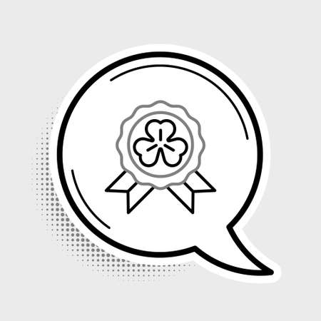 Line Medal with four leaf clover icon isolated on grey background. Happy Saint Patrick day. Colorful outline concept. Vector