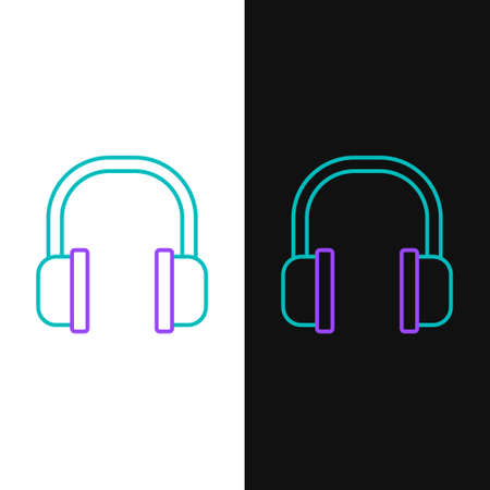 Line Headphones icon isolated on white and black background. Earphones sign. Concept for listening to music, service, communication and operator. Colorful outline concept. Vector