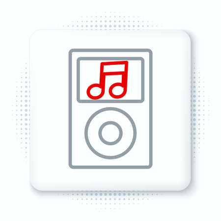 Line Music player icon isolated on white background. Portable music device. Colorful outline concept. Vector Ilustração
