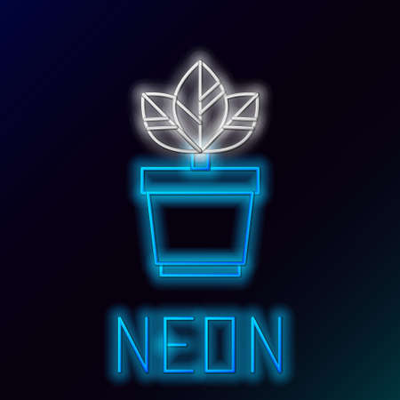 Glowing neon line Flowers in pot icon isolated on black background. Plant growing in a pot. Potted plant sign. Colorful outline concept. Vector