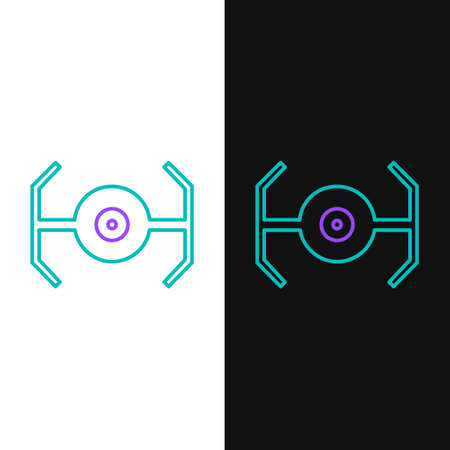 Line Cosmic ship icon isolated on white and black background. Colorful outline concept. Vector