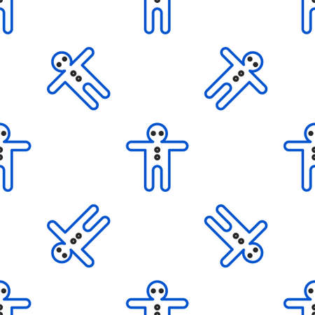 Line Holiday gingerbread man cookie icon isolated seamless pattern on white background. Cookie in shape of man with icing. Colorful outline concept. Vector