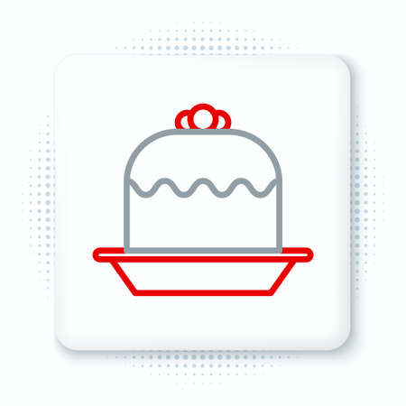 Line Cake icon isolated on white background. Happy Birthday. Colorful outline concept. Vector Ilustração