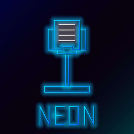 Glowing neon line Music stand icon isolated on black background. Musical equipment. Colorful outline concept. Vector