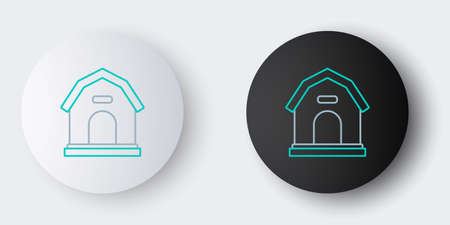 Line Dog house icon isolated on grey background. Dog kennel. Colorful outline concept. Vector