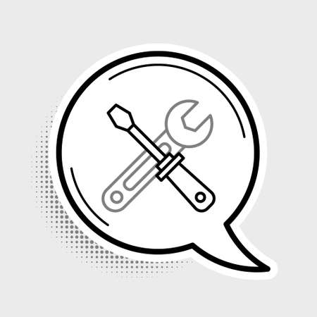 Line Screwdriver and wrench tools icon isolated on grey background. Service tool symbol. Colorful outline concept. Vector Vettoriali