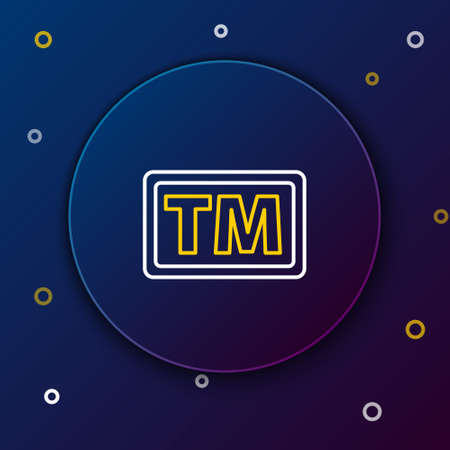 Line Trademark icon isolated on blue background. Abbreviation of TM. Colorful outline concept. Vector Illustration