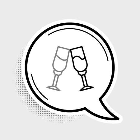 Line Glass of champagne icon isolated on grey background. Colorful outline concept. Vector