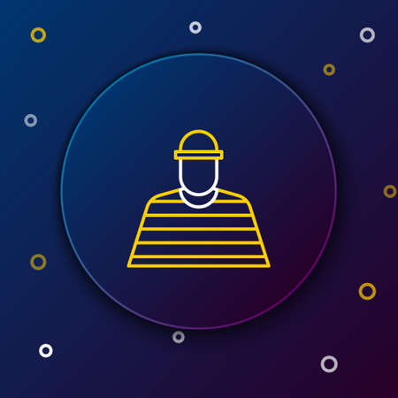 Line Prisoner icon isolated on blue background. Colorful outline concept. Vector