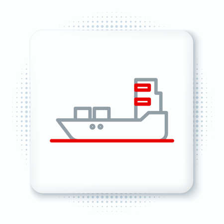 Line Oil tanker ship icon isolated on white background. Colorful outline concept. Vector