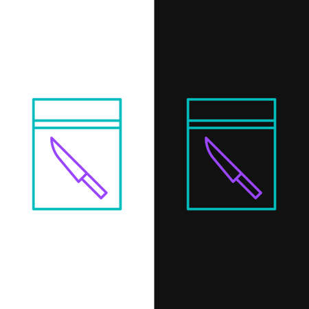 Line Evidence bag and knife icon isolated on white and black background. Colorful outline concept. Vector