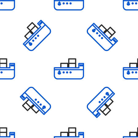 Line Oil tanker ship icon isolated seamless pattern on white background. Colorful outline concept. Vector