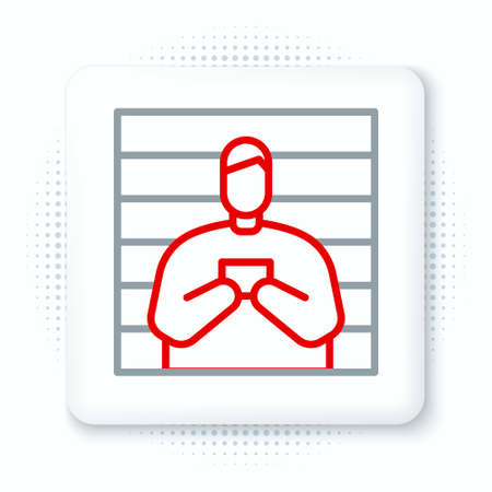 Line Suspect criminal icon isolated on white background. The criminal in prison, suspected near the board. Colorful outline concept. Vector