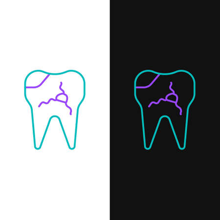 Line Broken tooth icon isolated on white and black background. Dental problem icon. Dental care symbol. Colorful outline concept. Vector