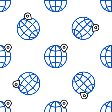 Line Location on the globe icon isolated seamless pattern on white background. World or Earth sign. Colorful outline concept. Vector
