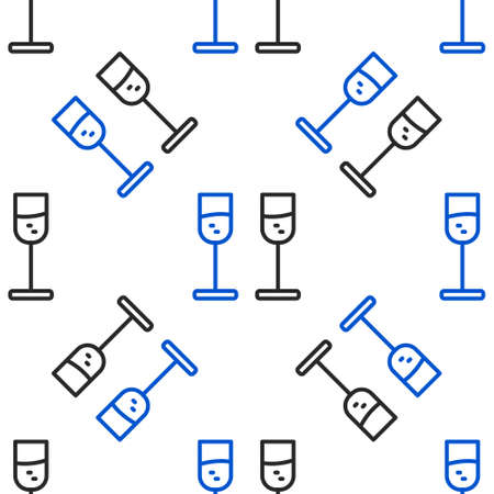 Line Glass of champagne icon isolated seamless pattern on white background. Colorful outline concept. Vector