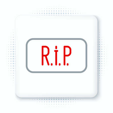 Line Speech bubble rip death icon isolated on white background. Colorful outline concept. Vector