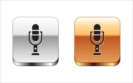 Black Microphone icon isolated on white background. On air radio mic microphone. Speaker sign. Silver-gold square button. Vector Illustration Ilustração